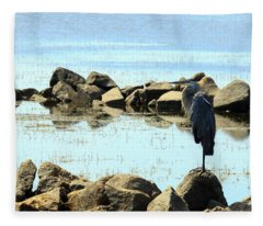 Heron On The Rocks Fleece Blanket