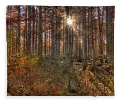 Heron Pond Cypress Trees Fleece Blanket
