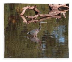 Heron Reflection Fleece Blanket