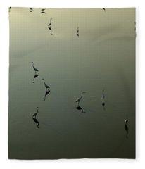 Herons On Lake 367 Fleece Blanket