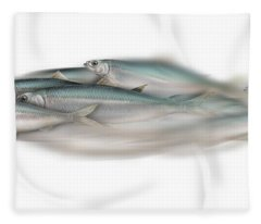 Herring School Of Fish - Clupea - Nautical Art - Seafood Art - Marine Art - Game Fish Fleece Blanket