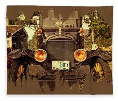 Hey A Model T Ford Truck Fleece Blanket