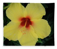 Sun Lover Hibiscus Fleece Blanket