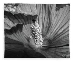 Hibiscus Black And White Fleece Blanket