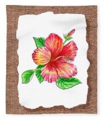 Hibiscus Flower Botanical Fleece Blanket