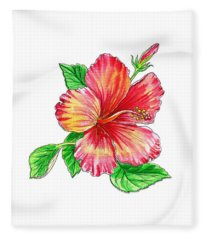 Hibiscus Flower White Background Fleece Blanket