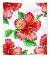 Hibiscus Magic Garden Fleece Blanket