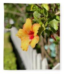Hibiscus On The Fence Line   Fleece Blanket