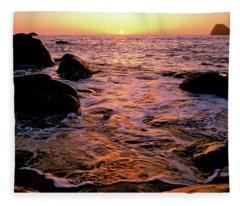 Hidden Cove Sunset Redwood National Park Fleece Blanket