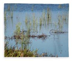 Hidden In The Grass The Wood Sandpiper  Fleece Blanket