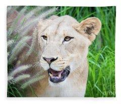 Hiding In Grass Fleece Blanket