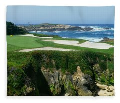 High Angle View Of A Golf Course Fleece Blanket
