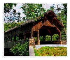 High Falls Covered Bridge Fleece Blanket