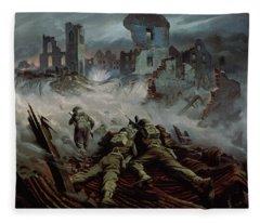Highlanders Advancing To Caen Fleece Blanket