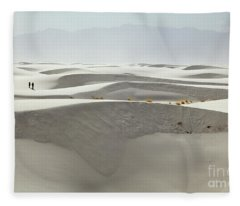Hikers At White Sands Fleece Blanket