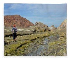 Hiking White Island Volcano Fleece Blanket