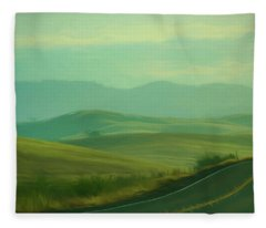 Hills In The Early Morning Light Digital Impressionist Art Fleece Blanket