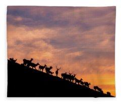 Hillside Elk Fleece Blanket
