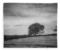 Hillside Tree 5 Bw Fleece Blanket