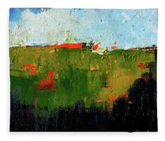 Hilltop Abstract Landscape Fleece Blanket