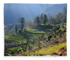Himalayan Stepped Fields - Nepal Fleece Blanket