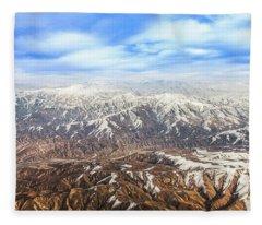Hindu Kush Snowy Peaks Fleece Blanket