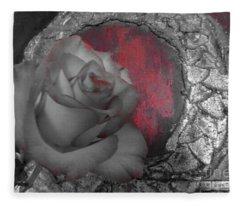 Hints Of Red - Rose Fleece Blanket
