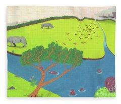 Hippo Awareness Fleece Blanket