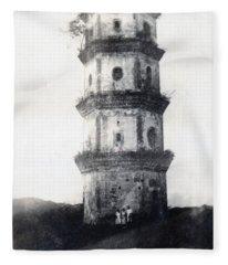 Historic Asian Tower Building Fleece Blanket
