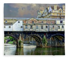 Historic Pulteney Bridge Fleece Blanket