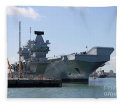 Hms Queen Elizabeth Aircraft Carrier At Portmouth Harbour Fleece Blanket