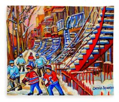 Hockey Game Near The Red Staircase Fleece Blanket