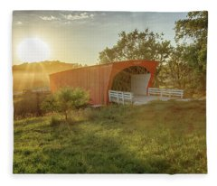 Hogback Covered Bridge 2 Fleece Blanket