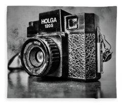 Holga 120s Black And White Fleece Blanket