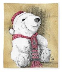 Holiday Bear Card Fleece Blanket