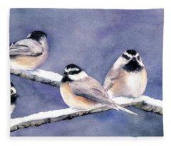 Holiday Chickadees Fleece Blanket