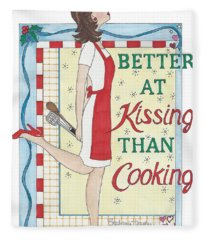 Holiday Kissing Cooking Fleece Blanket