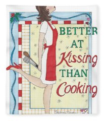 Holiday Kissing Cooking Fleece Blanket