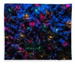 Holiday Lights In Snow Fleece Blanket