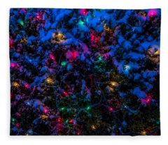 Holiday Lights In Snow Fleece Blanket