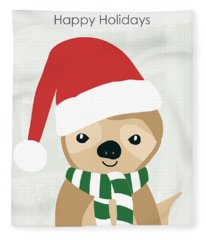 Holiday Sloth- Design By Linda Woods Fleece Blanket