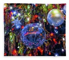 Holiday Tree Ornaments Fleece Blanket