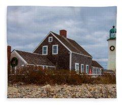 Holiday Wreath On The Lighthouse Fleece Blanket