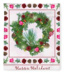 Holiday Wreath With Roses And Carnations Fleece Blanket