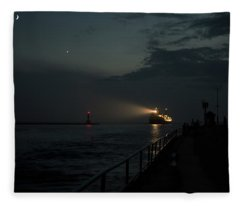 Holland Michigan Inlet  With Freighter Fleece Blanket