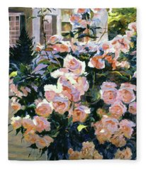 Hollywood Cottage Garden Roses Fleece Blanket