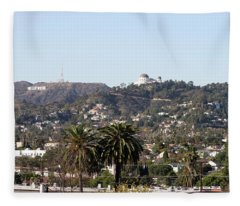 Hollywood Hills From Sunset Blvd Fleece Blanket