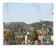 Hollywood Sign Above Sunset Blvd. Fleece Blanket