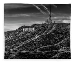 Hollywood Sign - Black And White Fleece Blanket