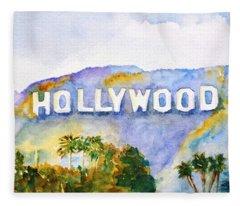 Hollywood Sign California Fleece Blanket